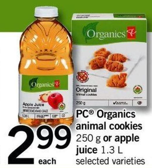 PC Organics Animal Cookies 250 G Or Apple Juice 1.3 L