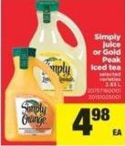Simply Juice Or Gold Peak Iced Tea - 2.63 L