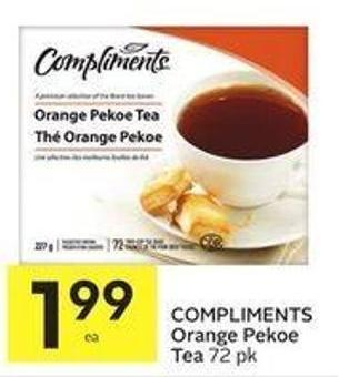 Compliments Orange Pekoe Tea 72 Pk