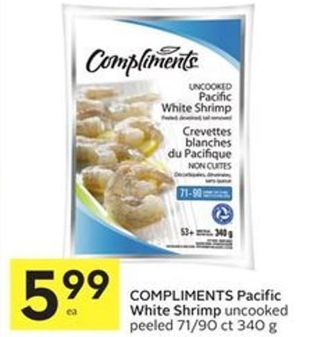 Compliments Pacific White Shrimp Uncooked Peeled 71/90 Ct 340 g
