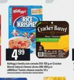 Kellogg's Family Size Cereals - 515-755 G Or Cracker Barrel Natural Cheese Slices - 200-240 G Or Amooza! Twists Cheese Snacks - 12's