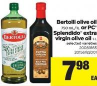 Bertolli Olive Oil - 750 Ml/1l Or PC Splendido Extra Virgin Olive Oil - 1 L