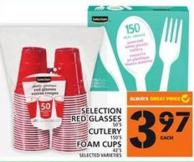 Selection Red Glasses Or Cutlery Or Foam Cups