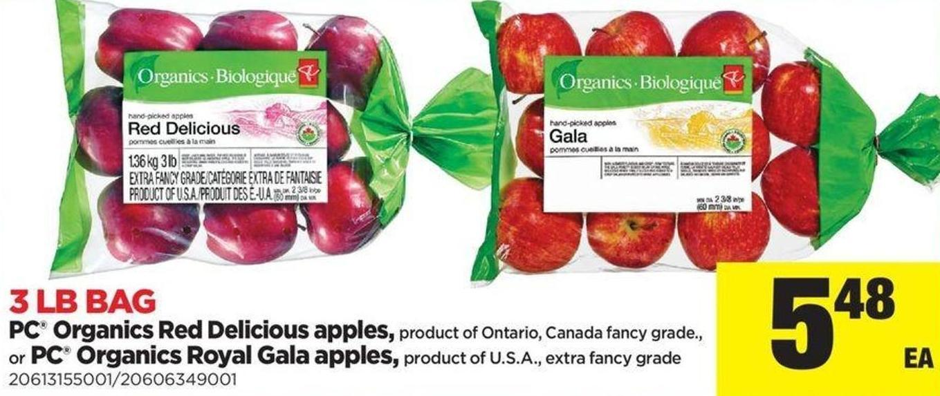 PC Organics Red Delicious Apples Or PC Organics Royal Gala Apples - 3 Lb Bag