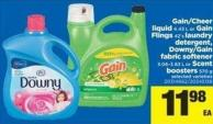 Gain/cheer Liquid - 4.43 L or Gain Flings - 42's Laundry Detergent - Downy/gain Fabric Softener - 3.06-3.83 L or Scent Boosters - 570 g