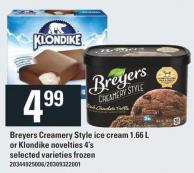 Breyers Creamery Style Ice Cream 1.66 L Or Klondike Novelties 4's