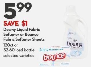 Downy Liquid Fabric  Softener or Bounce  Fabric Softener Sheets 120ct or  52-60 Load Bottle