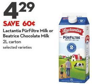 Lactantia Pūrfiltre Milk or  Beatrice Chocolate Milk 2l Carton