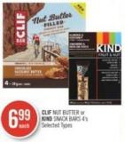 Clif Nut Butter or Kind Snack Bars 4's