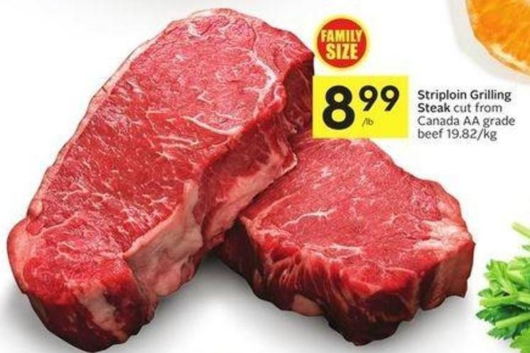 Striploin Grilling Steak Cut From Canada Aa Grade Beef 19.82/kg