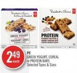 PC Greek Yogurt - Cereal or Protein Bars