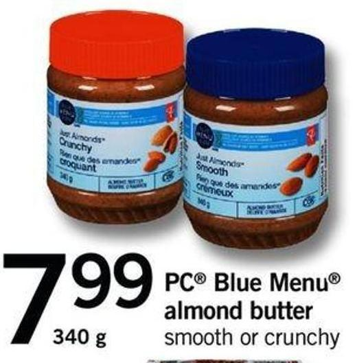 PC Blue Menu Almond Butter Smooth Or Crunchy