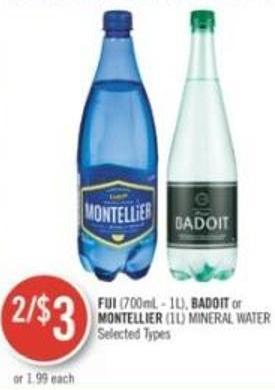Fiji (700ml - 1l) - Badoit or Montellier (1l) Mineral Water