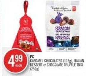 PC Caramel Chocolates (113g) - Italian Dessert or Chocolate Truffle Trio (250g)