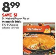 St. Hubert Frozen Pie or  Mozzarella Sticks 510-800g Pkg