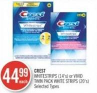 Crest Whitestrips (14's) or Vivid Twin Pack White Strips (20's)