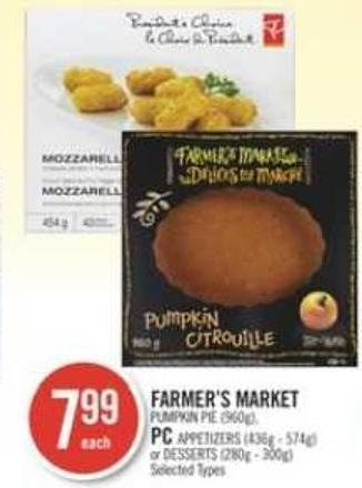 Farmer's Market Pumpkin Pie (960g) - PC Appetizers (436g - 574g) or Desserts (280g - 300g)