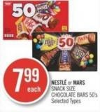 Nestlé or Mars Snack Size Chocolate Bars 50's
