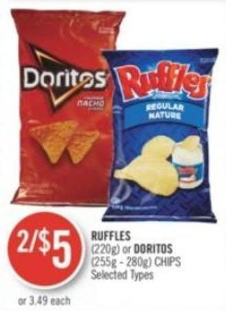 Ruffles (220g) or Doritos (255g - 280g) Chips