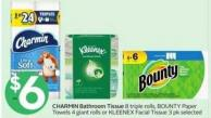 Charmin Bathroom Tissue 8 Triple Rolls - Bounty Paper Towels 4 Giant Rolls or Kleenex Facial Tissue 3 Pk