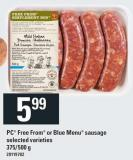 PC Free From Or Blue Menu Sausage - 375/500 g