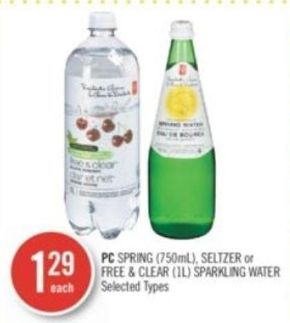 PC Spring (750ml) - Seltzer or Free & Clear (1l) Sparkling Water