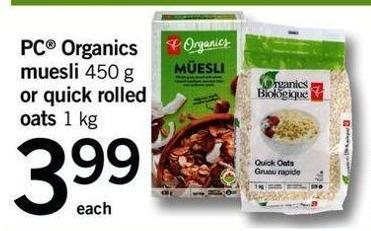 PC Organics Muesli - 450 G Or Quick Rolled Oats.