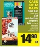 Kind Bar 12x40 G Or Clif Nut-butter Organic Bar 12x50 G