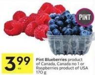 Pint Blueberries Product of Canada - Canada No 1 or Raspberries Product of USA 170 g