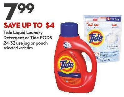 Tide Liquid Laundry Detergent or Tide PODS 24-32 Use Jug or Pouch