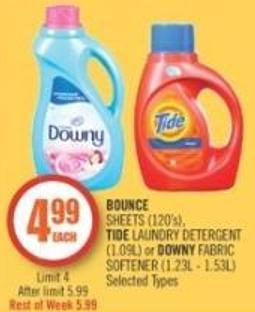 Bounce Sheets (120's) - Tide Laundry Detergent (1.09l) or Downy Fabric Softener (1.23l - 1.53l)