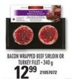 Bacon Wrapped Beef Sirloin Or Turkey Filet - 340 G