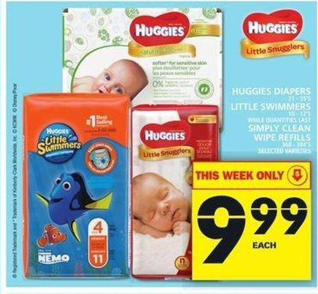 Huggies Diapers Or Little Swimmers Or Simply Clean Wipe Refills