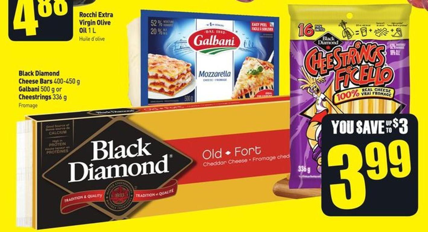 Black Diamond Cheese Bars 400-450 g Galbani 500 g or Cheestrings 336 g