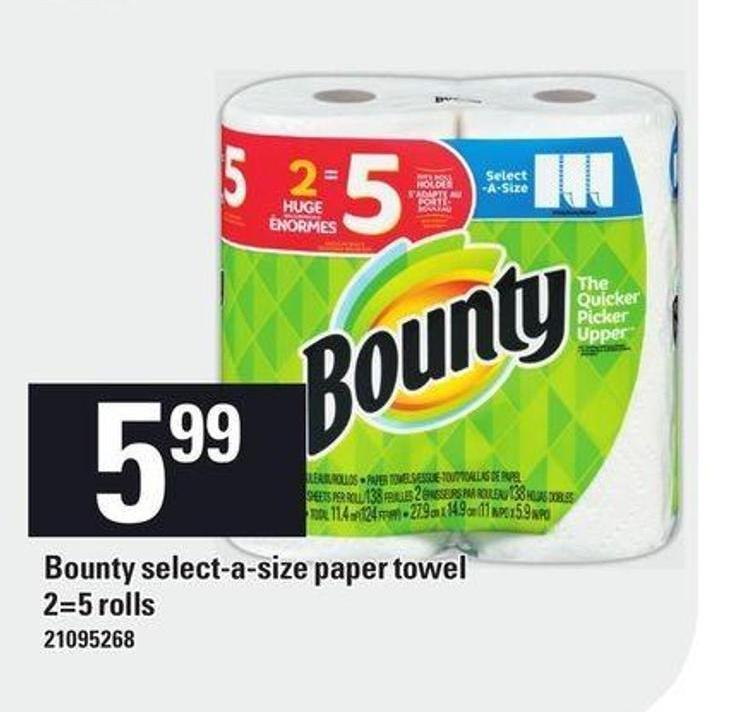 Bounty Select-a-size Paper Towel - 2=5 Rolls