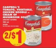Campbell's Tomato - Vegetable - Chicken Noodle or Cream Of Mushroom Soup - 284 mL