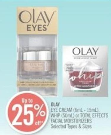Olay Eye Cream (6ml - 15ml) - Whip (50ml) or Total Effects Facial Moisturizers