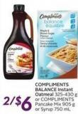 Compliments Balance Instant Oatmeal
