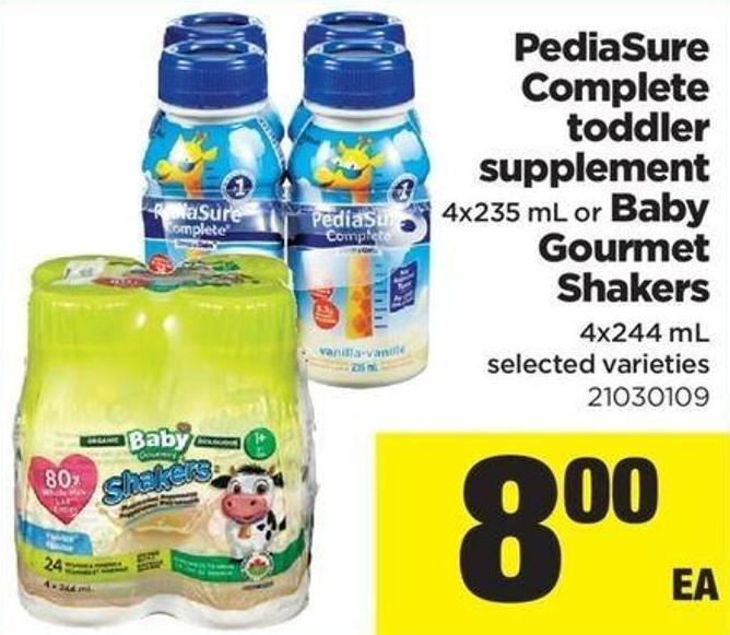 Pediasure Complete Toddler Supplement - 4x235 Ml Or Baby Gourmet Shakers - 4x244 Ml