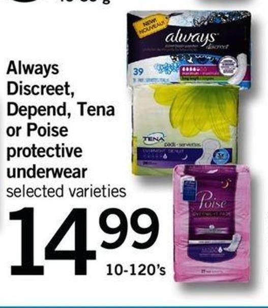 Always Discreet - Depend - Tena Or Poise Protective Underwear - 10-120's