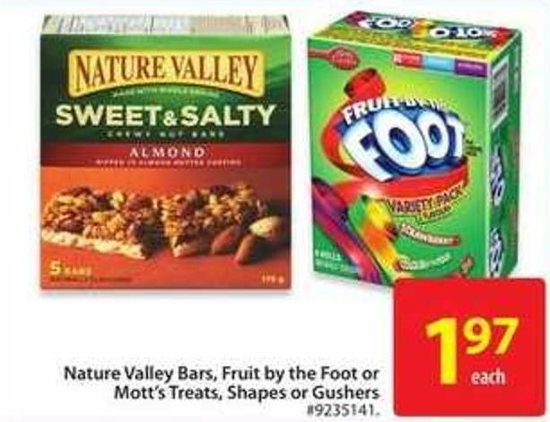 Nature Valley Bars - Fruit By The Foot or Mott's Treats - Shapes or Gushers