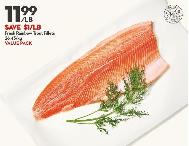 Fresh Rainbow Trout Fillets 26.43/kg