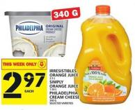 Irresistibles Orange Juice Or Simply Orange Juice Or Philadelphia Cream Cheese