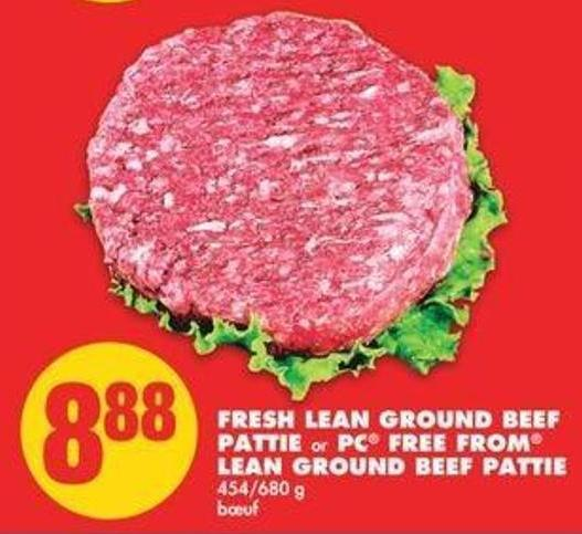 Fresh Lean Ground Beef Pattie Or PC Free From Lean Ground Beef Pattie - 454/680 G