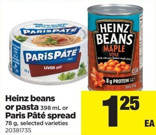 Heinz Beans Or Pasta - 398 Ml Or Paris Pâté Spread - 78 g