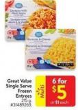 Great Value Single Serve Frozen Entrees 215 G