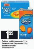 Rubicon Fruit Juice Or Nectar 1 L Or Britannia Good Day Cookies 231 G