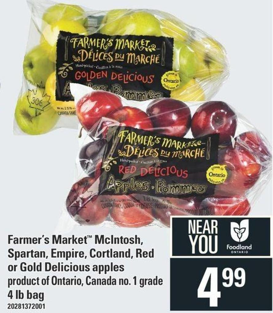 Farmer's Market Mcintosh - Spartan - Empire - Cortland - Red Or Gold Delicious Apples - 4 Lb Bag