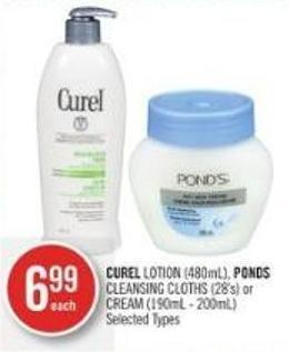 Curel Lotion (480ml) - Ponds Cleansing Cloths (28's) or Cream (190ml - 200ml)