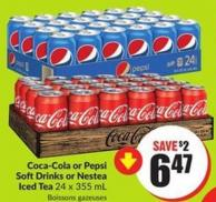 Coca-cola or Pepsi Softdrinks or Nestea Iced Tea 24 X 355 mL